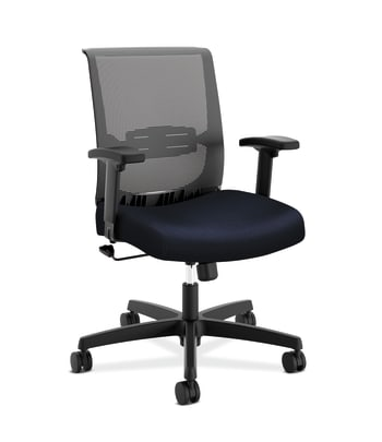 HON Convergence Task Chair | Swivel Tilt Control | Height- and Width-Adjustable Arms | Adjustable Lumbar Support | Navy Fabric Seat