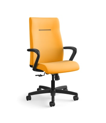 HON Ignition Executive High-Back Task Chair | Fixed Arms | Hard Casters | Upholstered Back | Goldenrod Fabric | Standard Base