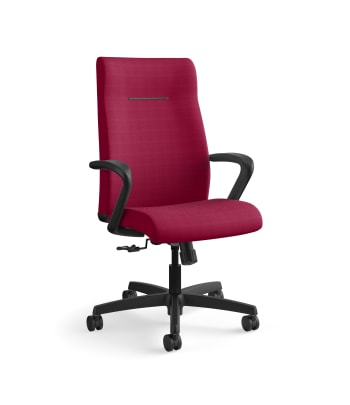 HON Ignition Executive High-Back Task Chair | Fixed Arms | Hard Casters | Upholstered Back | Marsala Fabric | Standard Base