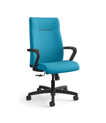 HON Ignition Executive High-Back Task Chair | Fixed Arms | Hard Casters | Upholstered Back | Peacock Fabric | Standard Base