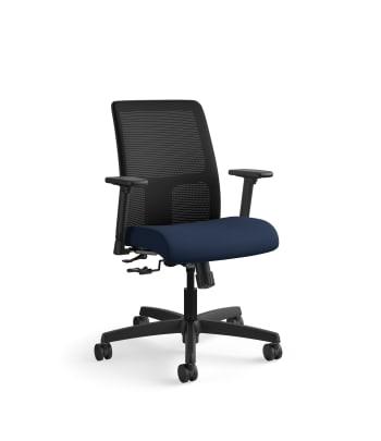 HON Ignition Low-Back Mesh Task Chair | Center-Tilt | Adjustable Arms | Navy Fabric