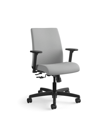HON Ignition Low-Back Task Chair   Height- and Width-Adjustable Arms   Hard Casters   Upholstered Back   Frost Fabric   Black Base