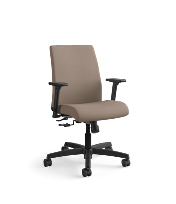HON Ignition Low-Back Task Chair   Height- and Width-Adjustable Arms   Hard Casters   Upholstered Back   Bark Fabric   Black Base