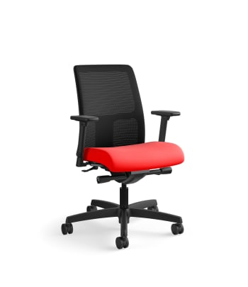 HON Ignition Low-Back Mesh Task Chair | Synchro-Tilt | Adjustable Arms | Ruby Fabric