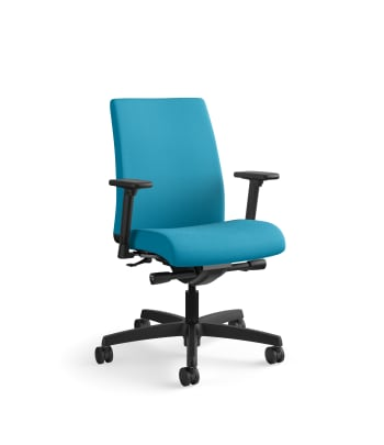 HON Ignition Low-Back Mesh Task Chair   Synchro-Tilt   Adjustable Arms   Peacock Fabric
