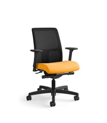 HON Ignition Low-Back Mesh Task Chair   Synchro-Tilt, Back Angle   Adjustable Arms   Goldenrod Fabric