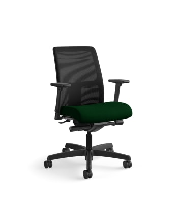 HON Ignition Low-Back Mesh Task Chair   Synchro-Tilt, Back Angle   Adjustable Arms   Jade Fabric