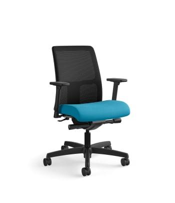 HON Ignition Low-Back Mesh Task Chair | Synchro-Tilt, Back Angle | Adjustable Arms | Peacock Fabric