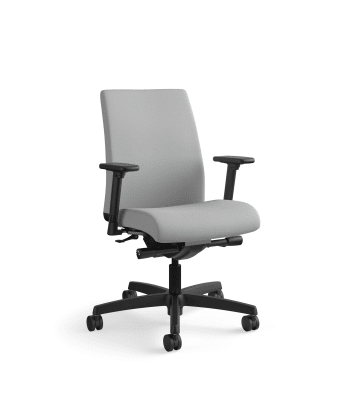 HON Ignition Low-Back Task Chair   Synchro-Tilt, Back Angle   Adjustable Arms   Frost Fabric