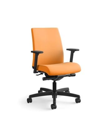 HON Ignition Low-Back Task Chair   Synchro-Tilt, Back Angle   Adjustable Arms   Apricot Fabric