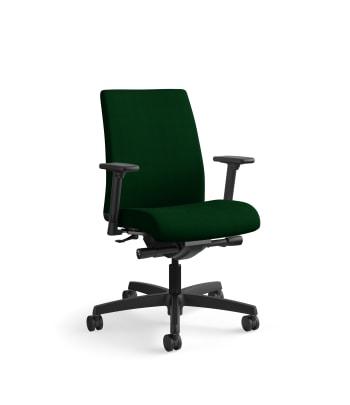 HON Ignition Low-Back Task Chair | Synchro-Tilt, Back Angle | Adjustable Arms | Jade Fabric