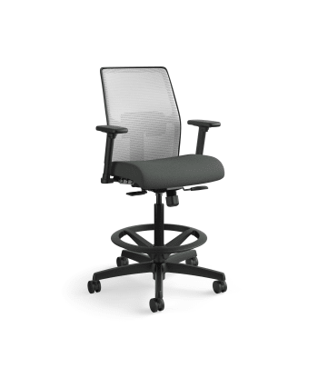 HON Ignition 2.0 Low-Back 4-way stretch Mesh Task Stool | Limited Synchro-Tilt Control | Height- and Width-Adjustable Arms | Adjustable Lumbar Support | Hard Casters | Fog 4-way stretch Mesh Back | Iron Ore Seat Fabric | Standard Base | Black Frame