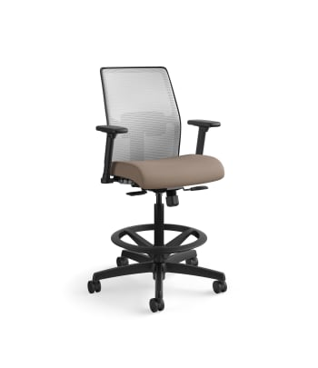 HON Ignition 2.0 Low-Back 4-way stretch Mesh Task Stool   Limited Synchro-Tilt Control   Height- and Width-Adjustable Arms   Adjustable Lumbar Support   Hard Casters   Fog 4-way stretch Mesh Back   Bark Seat Fabric   Standard Base   Black Frame