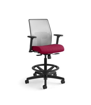 HON Ignition 2.0 Low-Back 4-way stretch Mesh Task Stool   Limited Synchro-Tilt Control   Height- and Width-Adjustable Arms   Adjustable Lumbar Support   Hard Casters   Fog 4-way stretch Mesh Back   Marsala Seat Fabric   Standard Base   Black Frame