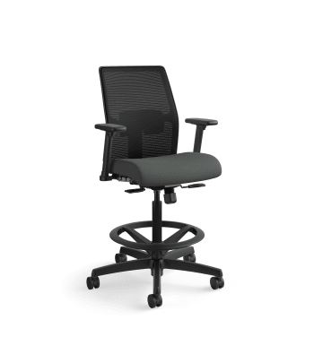 HON Ignition 2.0 Low-Back 4-way stretch Mesh Task Stool | Limited Synchro-Tilt Control | Height- and Width-Adjustable Arms | Adjustable Lumbar Support | Black 4-way stretch Mesh Back | Iron Ore Seat Fabric | Black Frame