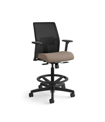 HON Ignition 2.0 Low-Back 4-way stretch Mesh Task Stool | Limited Synchro-Tilt Control | Height- and Width-Adjustable Arms | Adjustable Lumbar Support | Hard Casters | Black 4-way stretch Mesh Back | Bark Seat Fabric | Standard Base | Black Frame