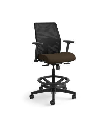 HON Ignition 2.0 Low-Back 4-way stretch Mesh Task Stool | Limited Synchro-Tilt Control | Height- and Width-Adjustable Arms | Adjustable Lumbar Support | Hard Casters | Black 4-way stretch Mesh Back | Espresso Seat Fabric | Standard Base | Black Frame