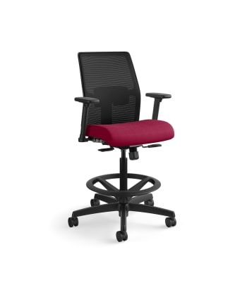 HON Ignition 2.0 Low-Back 4-way stretch Mesh Task Stool   Limited Synchro-Tilt Control   Height- and Width-Adjustable Arms   Adjustable Lumbar Support   Hard Casters   Black 4-way stretch Mesh Back   Marsala Seat Fabric   Standard Base   Black Frame