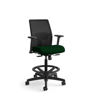 HON Ignition 2.0 Low-Back 4-way stretch Mesh Task Stool   Limited Synchro-Tilt Control   Height- and Width-Adjustable Arms   Adjustable Lumbar Support   Hard Casters   Black 4-way stretch Mesh Back   Jade Seat Fabric   Standard Base   Black Frame