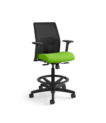 HON Ignition 2.0 Low-Back 4-way stretch Mesh Task Stool | Limited Synchro-Tilt Control | Height- and Width-Adjustable Arms | Adjustable Lumbar Support | Hard Casters | Black 4-way stretch Mesh Back | Pear Seat Fabric | Standard Base | Black Frame
