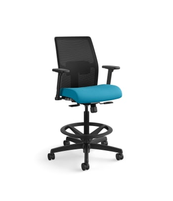 HON Ignition 2.0 Low-Back 4-way stretch Mesh Task Stool | Limited Synchro-Tilt Control | Height- and Width-Adjustable Arms | Adjustable Lumbar Support | Hard Casters | Black 4-way stretch Mesh Back | Peacock Seat Fabric | Standard Base | Black Frame