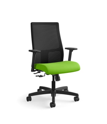 HON Ignition Mid-Back Mesh Task Chair | Center-Tilt | Adjustable Arms | Pear Fabric