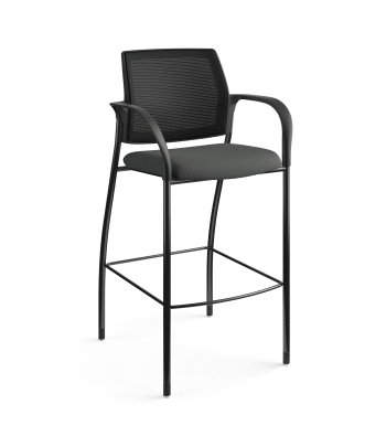 HON Ignition Cafe-Height 4-Leg Stool   Fixed Arms   Glides   Black 4-way stretch Mesh Back   Iron Ore Seat Fabric   Black Frame