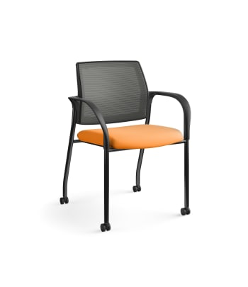 HON Ignition Multi-Purpose Stacking Chair | 4-Leg | Fixed Arms | Casters | Charcoal 4-way stretch Mesh Back | Apricot Seat Fabric | Black Frame