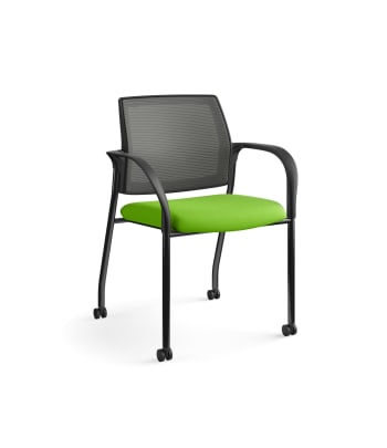 HON Ignition Multi-Purpose Stacking Chair | 4-Leg | Fixed Arms | Casters | Charcoal 4-way stretch Mesh Back | Pear Seat Fabric | Black Frame