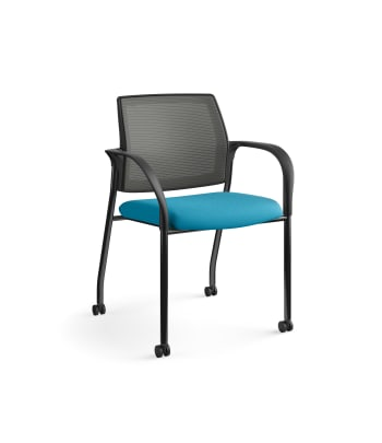 HON Ignition Multi-Purpose Stacking Chair | 4-Leg | Fixed Arms | Casters | Charcoal 4-way stretch Mesh Back | Peacock Seat Fabric | Black Frame