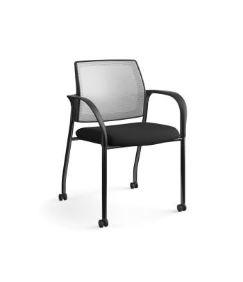 HON Ignition Multi-Purpose Stacking Chair | 4-Leg | Fixed Arms | Casters | Fog 4-way stretch Mesh Back | Black Seat Fabric | Black Frame