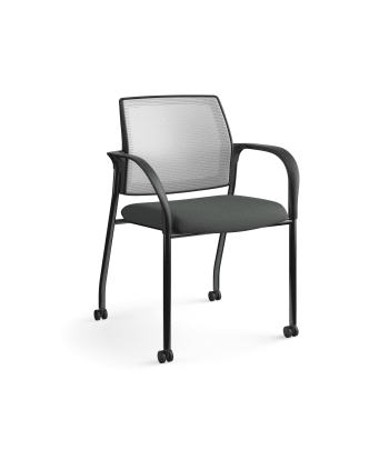 HON Ignition Multi-Purpose Stacking Chair | 4-Leg | Fixed Arms | Casters | Fog 4-way stretch Mesh Back | Iron Ore Seat Fabric | Black Frame