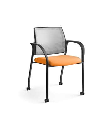 HON Ignition Multi-Purpose Stacking Chair | 4-Leg | Fixed Arms | Casters | Fog 4-way stretch Mesh Back | Apricot Seat Fabric | Black Frame