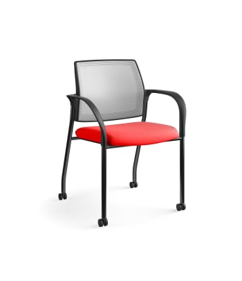 HON Ignition Multi-Purpose Stacking Chair | 4-Leg | Fixed Arms | Casters | Fog 4-way stretch Mesh Back | Ruby Seat Fabric | Black Frame