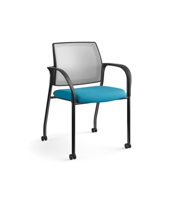HON Ignition Multi-Purpose Stacking Chair | 4-Leg | Fixed Arms | Casters | Fog 4-way stretch Mesh Back | Peacock Seat Fabric | Black Frame