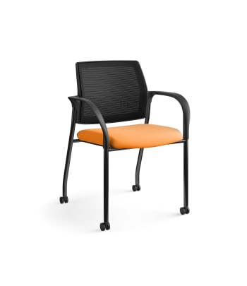 HON Ignition Multi-Purpose Stacking Chair | 4-Leg | Fixed Arms | Casters | Black 4-way stretch Mesh Back | Apricot Seat Fabric | Black Frame