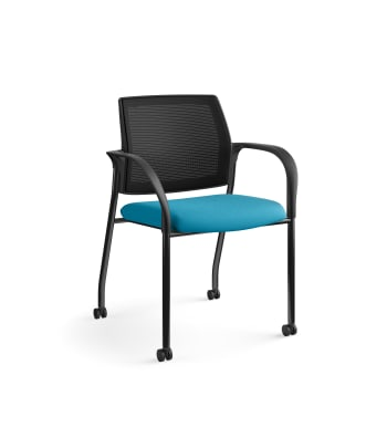 HON Ignition Multi-Purpose Stacking Chair | 4-Leg | Fixed Arms | Casters | Black 4-way stretch Mesh Back | Peacock Seat Fabric | Black Frame