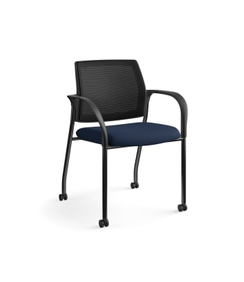 HON Ignition Multi-Purpose Stacking Chair | 4-Leg | Fixed Arms | Casters | Black 4-way stretch Mesh Back | Navy Seat Fabric | Black Frame