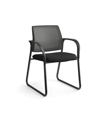 HON Ignition Multi-Purpose Chair | Sled Base | Fixed Arms | Glides | Charcoal 4-way stretch Mesh Back | Black Seat Fabric | Black Frame