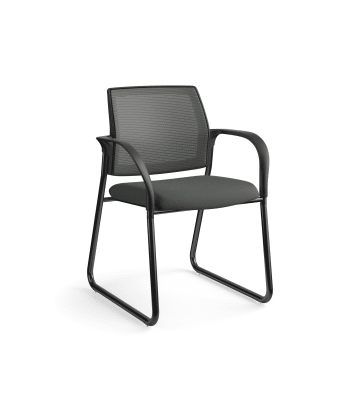 HON Ignition Multi-Purpose Chair | Sled Base | Fixed Arms | Glides | Charcoal 4-way stretch Mesh Back | Iron Ore Seat Fabric | Black Frame