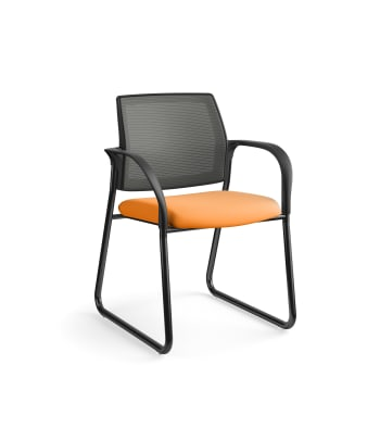 HON Ignition Multi-Purpose Chair | Sled Base | Fixed Arms | Glides | Charcoal 4-way stretch Mesh Back | Apricot Seat Fabric | Black Frame