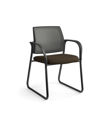 HON Ignition Multi-Purpose Chair | Sled Base | Fixed Arms | Glides | Charcoal 4-way stretch Mesh Back | Espresso Seat Fabric | Black Frame