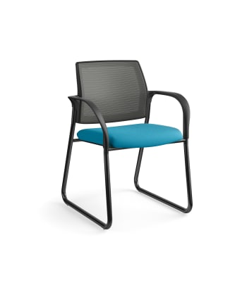 HON Ignition Multi-Purpose Chair | Sled Base | Fixed Arms | Glides | Charcoal 4-way stretch Mesh Back | Peacock Seat Fabric | Black Frame