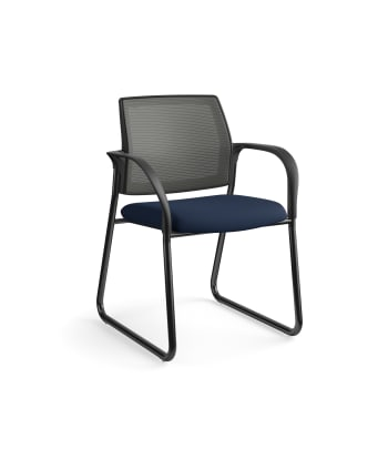 HON Ignition Multi-Purpose Chair | Sled Base | Fixed Arms | Glides | Charcoal 4-way stretch Mesh Back | Navy Seat Fabric | Black Frame