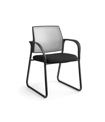 HON Ignition Multi-Purpose Chair | Sled Base | Fixed Arms | Glides | Fog 4-way stretch Mesh Back | Black Seat Fabric | Black Frame
