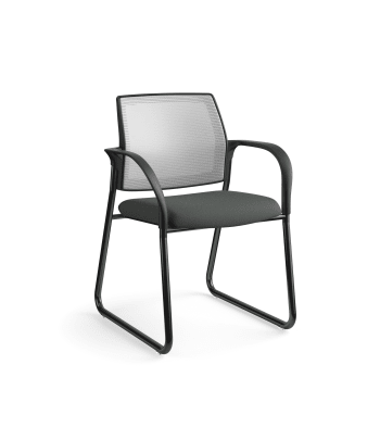 HON Ignition Multi-Purpose Chair | Sled Base | Fixed Arms | Glides | Fog 4-way stretch Mesh Back | Iron Ore Seat Fabric | Black Frame