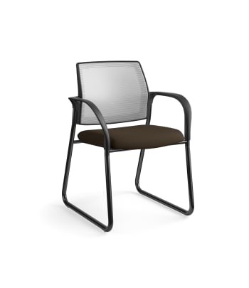 HON Ignition Multi-Purpose Chair | Sled Base | Fixed Arms | Glides | Fog 4-way stretch Mesh Back | Espresso Seat Fabric | Black Frame