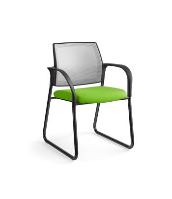 HON Ignition Multi-Purpose Chair | Sled Base | Fixed Arms | Glides | Fog 4-way stretch Mesh Back | Pear Seat Fabric | Black Frame