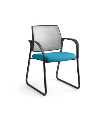 HON Ignition Multi-Purpose Chair | Sled Base | Fixed Arms | Glides | Fog 4-way stretch Mesh Back | Peacock Seat Fabric | Black Frame