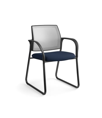 HON Ignition Multi-Purpose Chair | Sled Base | Fixed Arms | Glides | Fog 4-way stretch Mesh Back | Navy Seat Fabric | Black Frame
